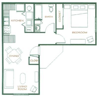 One Bedroom / One Bath - 653 Sq. Ft.*