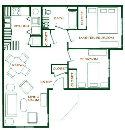 Two Bedroom / One Bath 856 Sq. Ft.*